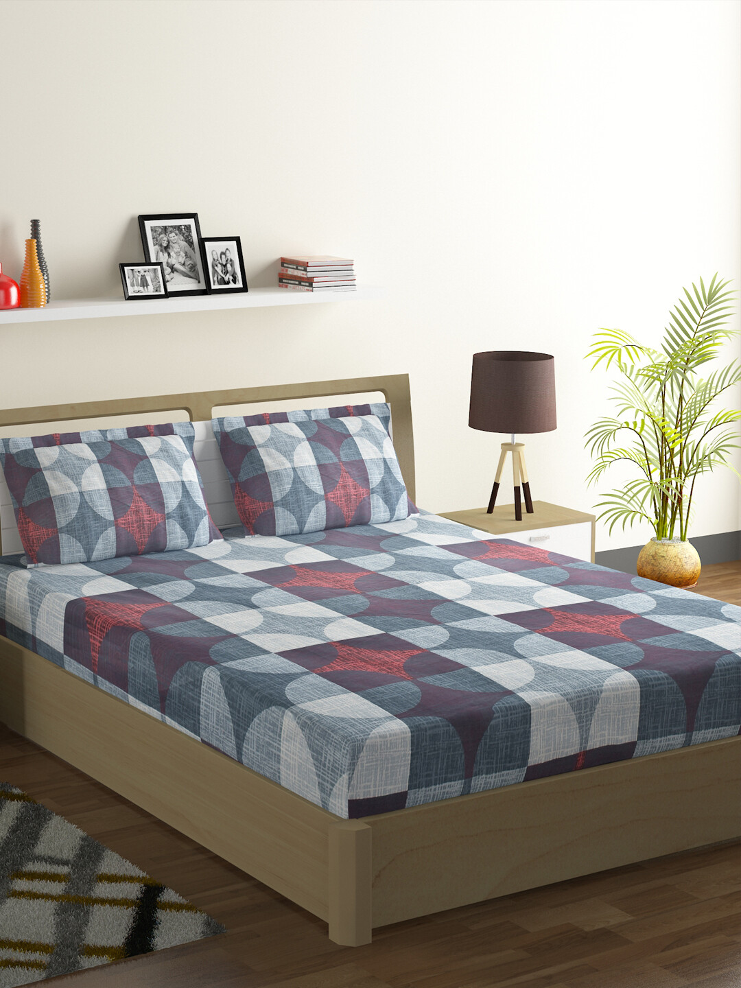 Swayam Swadeshi Grey Eclipse 200 GSM 100% Cotton Double Bedsheet with 2 Pillow Covers