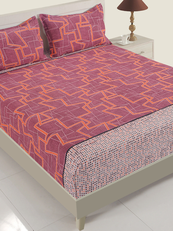 Swayam Swadeshi Maroon & Smoke Grey 200 GSM 100% Cotton Double Bedsheet with 2 Pillow Covers