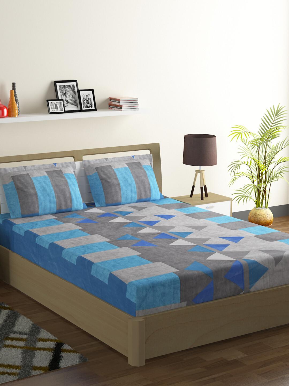 Swayam Swadeshi Cobalt & Grey 200 GSM 100% Cotton Double Bedsheet with 2 Pillow Covers