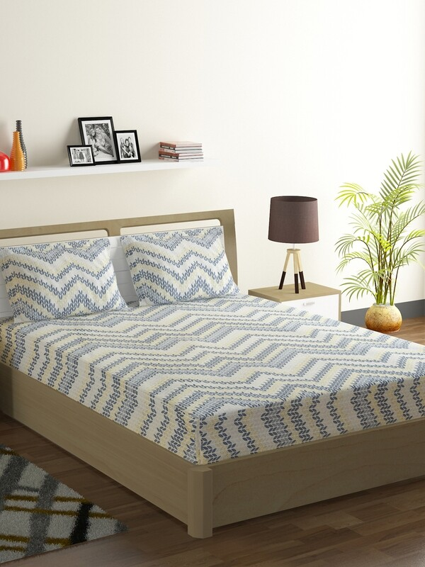 Swayam Blue Aztec Chevron 160 TC Cotton Double Bedsheet with 2 Pillow Covers