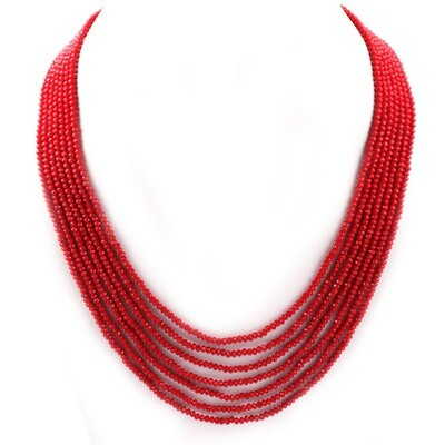 Beautiful 7 Layer Red Beaded Fashion Necklace For Women