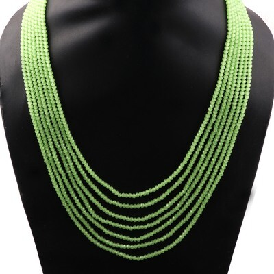 Beautiful 7 Layer Sage Green Beaded Fashion Necklace For Women