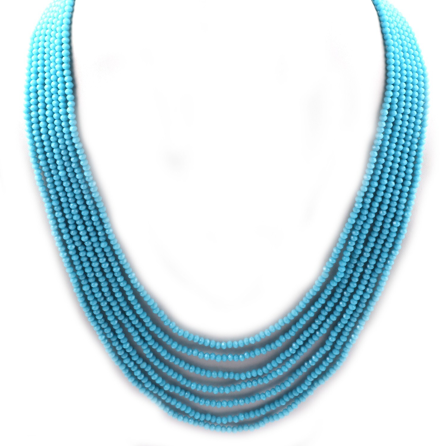 Beautiful 7 Layer Blue Beaded Fashion Necklace For Women