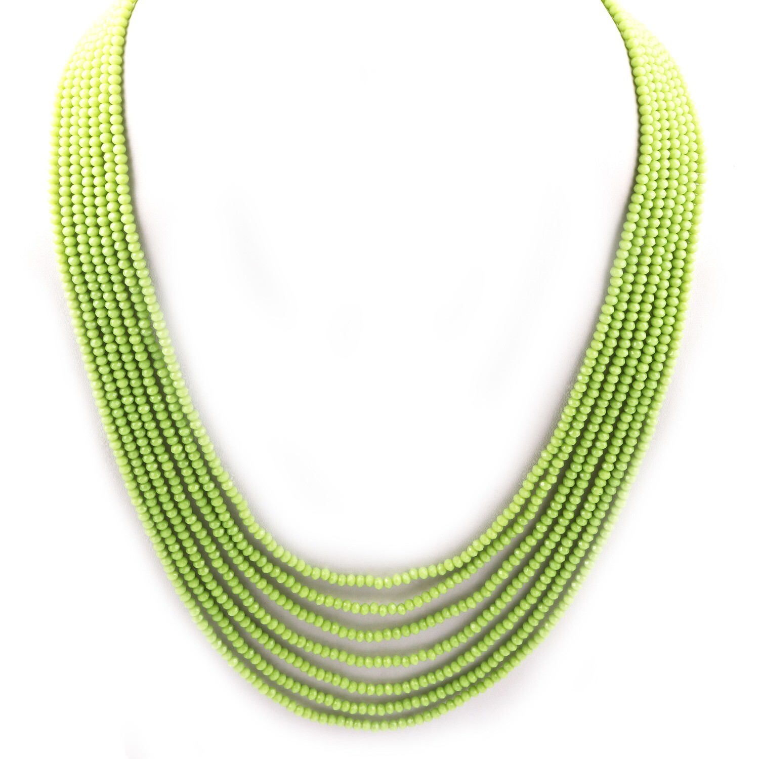 Beautiful 7 Layer Green Beaded Fashion Necklace For Women
