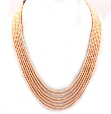 Beautiful 7 Layer Peach Beaded Fashion Necklace For Women