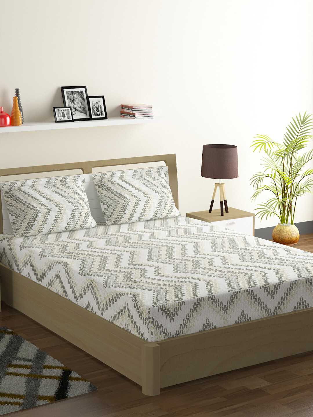 Swayam Green Aztec Chevron 160 TC Cotton Double Bedsheet with 2 Pillow Covers