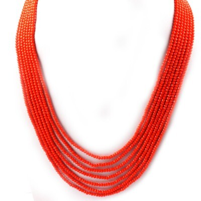 Beautiful 7 Layer Orange Beaded Fashion Necklace For Women