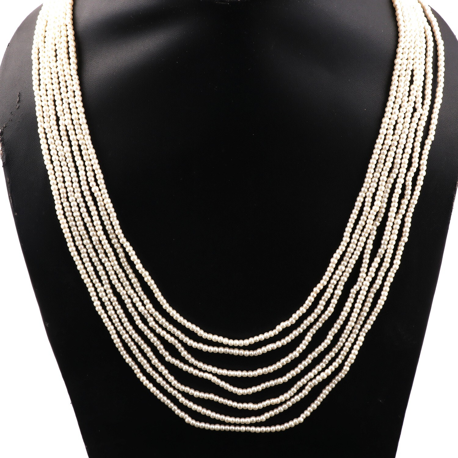 Beautiful 7 Layer Cream Beaded Fashion Necklace For Women