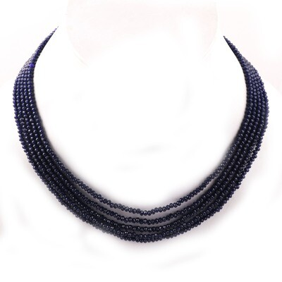 Beautiful 5 Layer Blue Beaded Fashion Necklace For Women