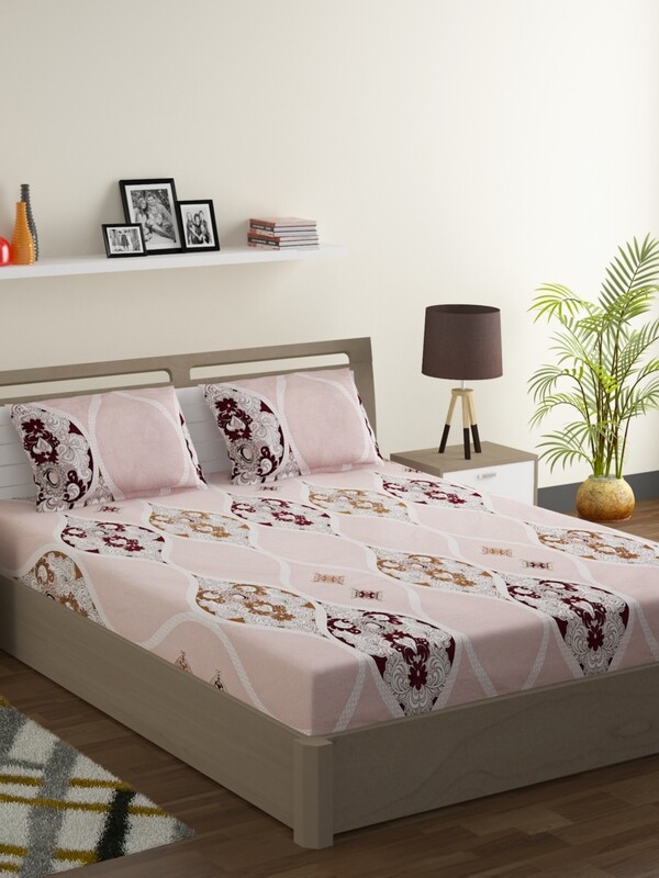 Swayam Peach Persian Motif 160 TC Cotton Double Bedsheet with 2 Pillow Covers