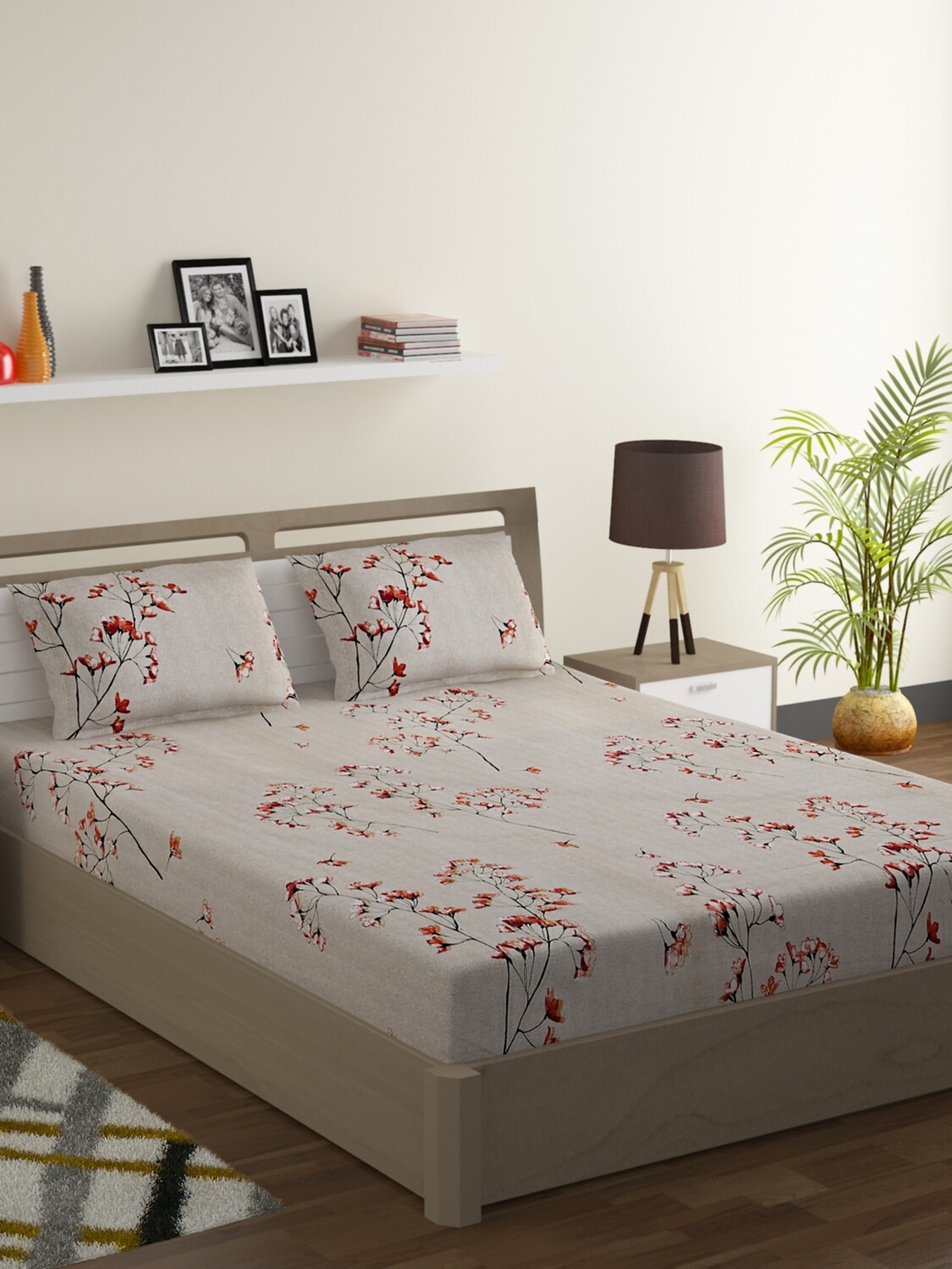 Swayam Orange Lilies 180 TC Cotton Double Bedsheet with 2 Pillow Covers