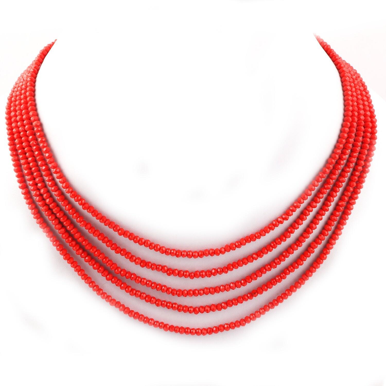 Beautiful 5 Layer Orange Beaded Fashion Necklace For Women
