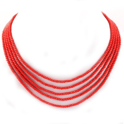 Beautiful 5 Layer Orange Beaded Fashion Necklace For Women