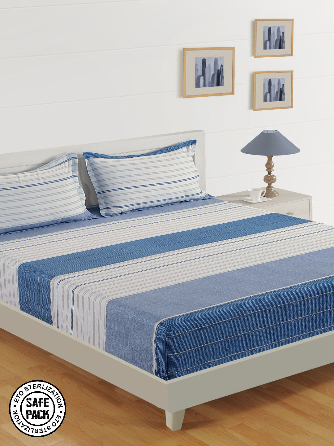 Swayam Blue and Grey Love for Soberity  180 TC Cotton Double Bedsheet with 2 Pillow Covers