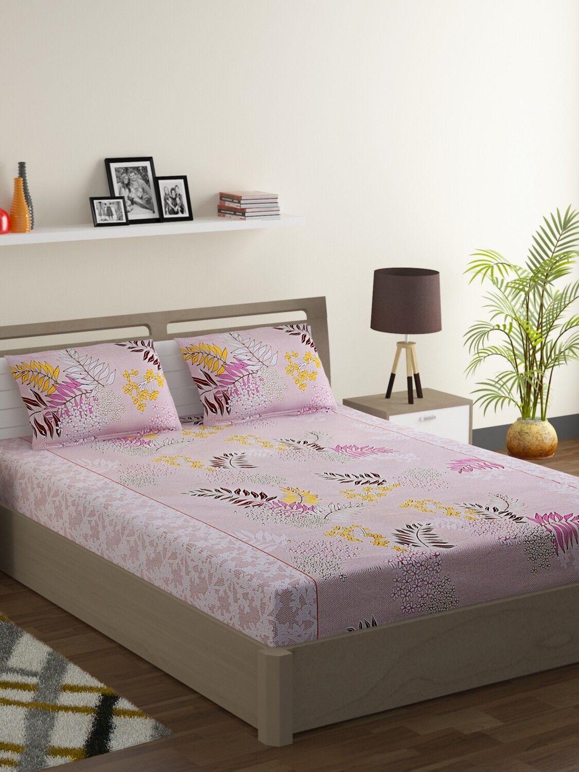 Swayam Earthy Nature Love 160 TC Cotton Double Bedsheet with 2 Pillow Covers