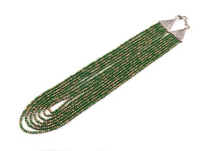 Trendy Green 7 Layer Beaded Fashion Necklace For Women
