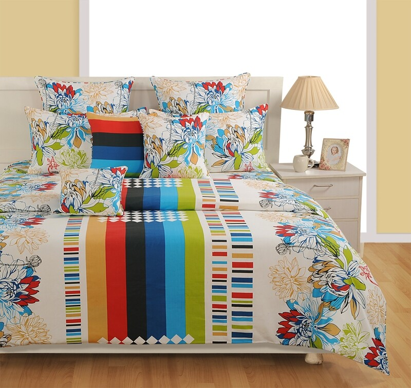 Swayam Multicolor Nature and Geometrical Amalgamation 180 TC Cotton Double Bedsheet with 2 Pillow Covers