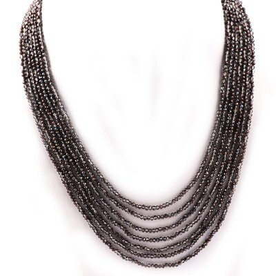 Trendy 7 Layer Black Sparkling Beaded Fashion Necklace For Women