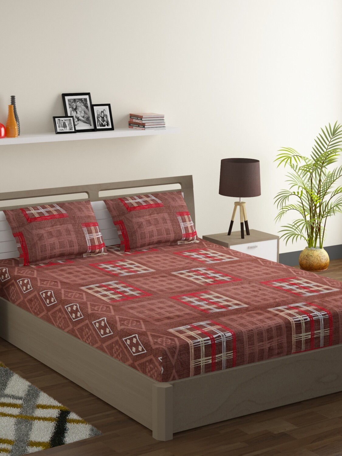 Swayam Bronzed Squares 160 TC Cotton Double Bedsheet with 2 Pillow Covers