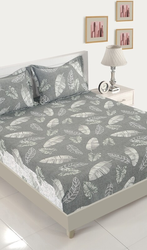 Swayam Grey Tropical Ambience 180 TC Cotton Double Bedsheet with 2 Pillow Covers