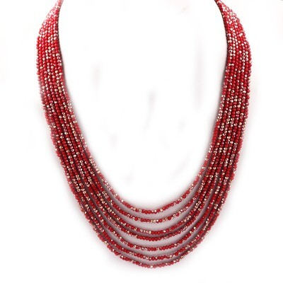 Trendy 7 Layer Red Colour Beaded Fashion Necklace For Women