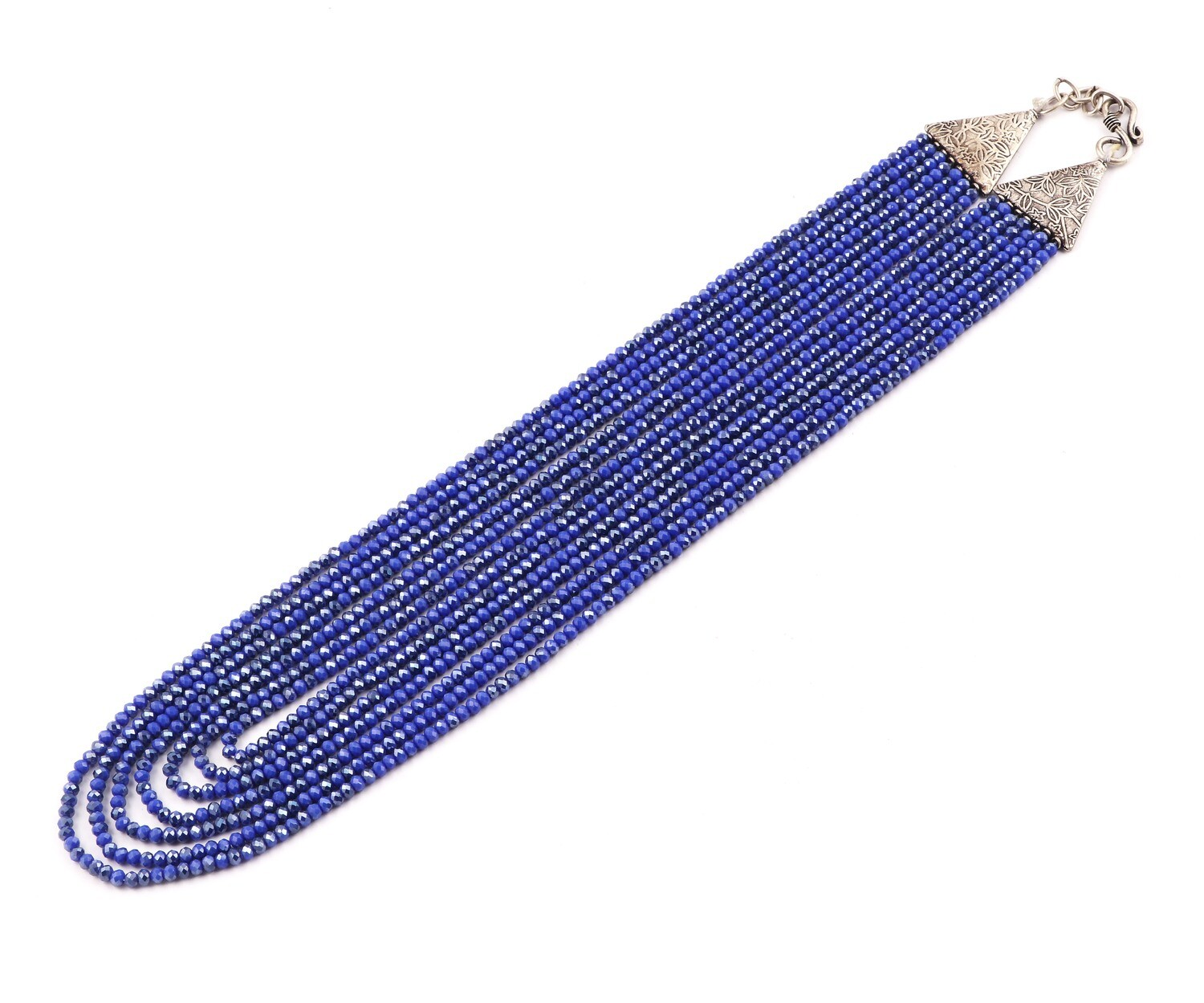 Trendy 7 Layer Blue Colour Beaded Fashion Necklace For Women