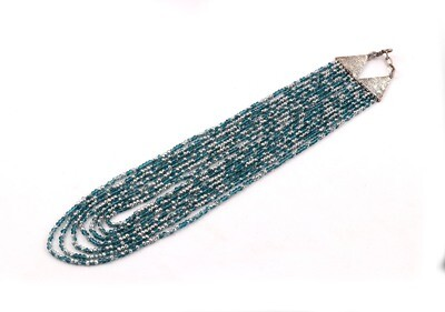 Trendy 7 Layer Blue And Silver Beaded Fashion Necklace For Women