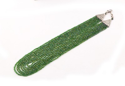 Trendy 7 Layer Green Beaded Fashion Necklace For Women