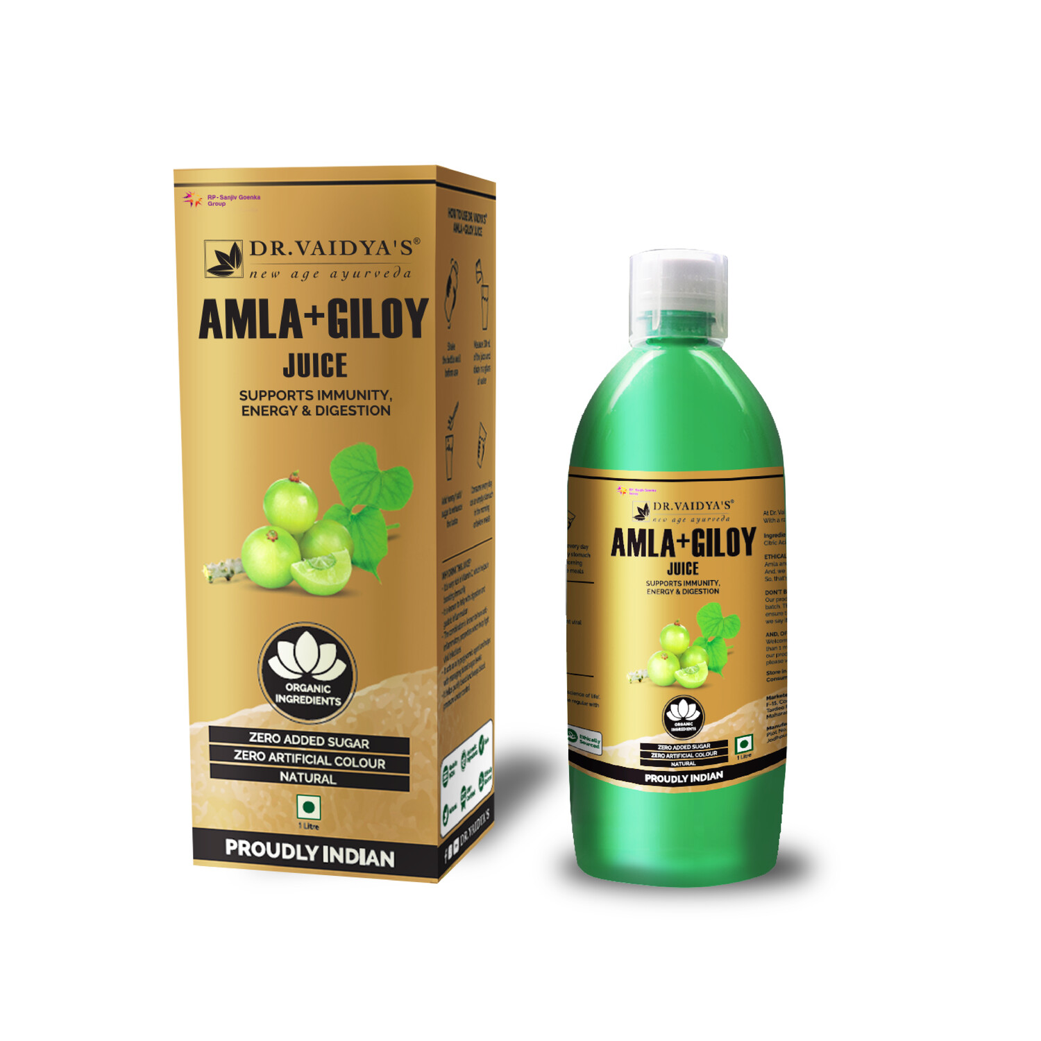 Dr. Vaidya's Amla and Giloy Juice - Vegetarian Zero Added Sugar