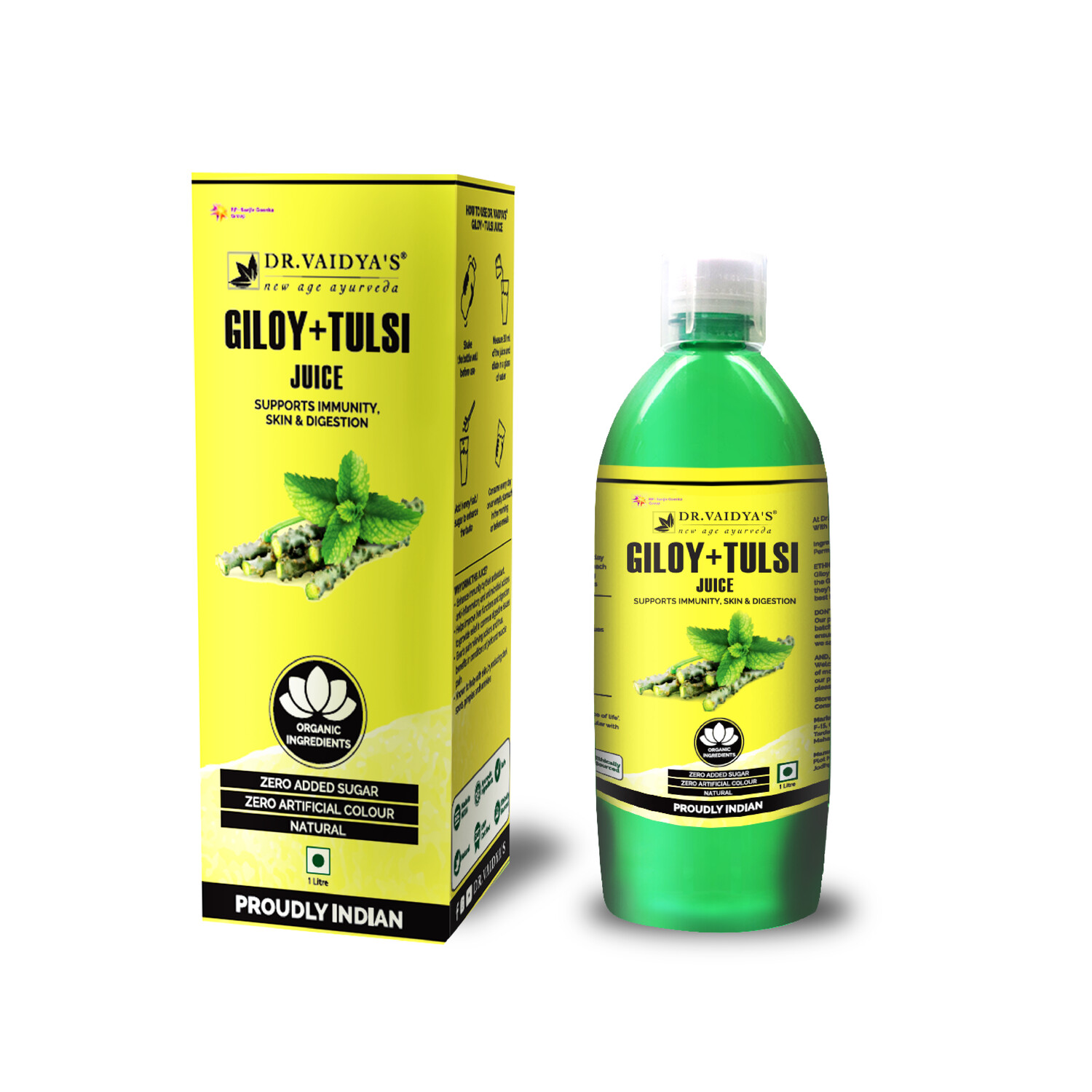 Dr. Vaidya's Giloy and Tulsi Juice - Vegetarian Zero Added Sugar