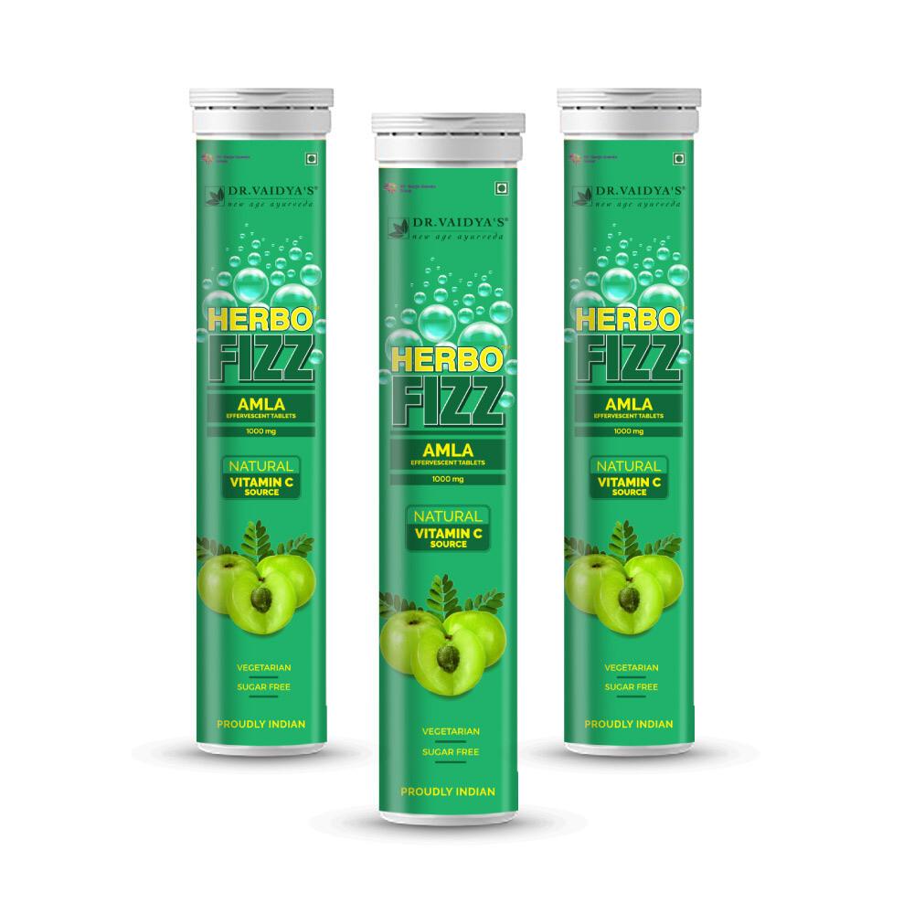 Dr. Vaidya's HerboFizz - 1000mg Amla Effervescent Tablets - Natural Vitamin C Source Vegetarian, Zero Added Sugar - Pack of 3