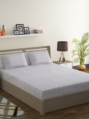 Swayam Pastel Vogue 210 TC Pure Cotton Cloudy Gray Double Bedsheet with 2 Pillow Covers