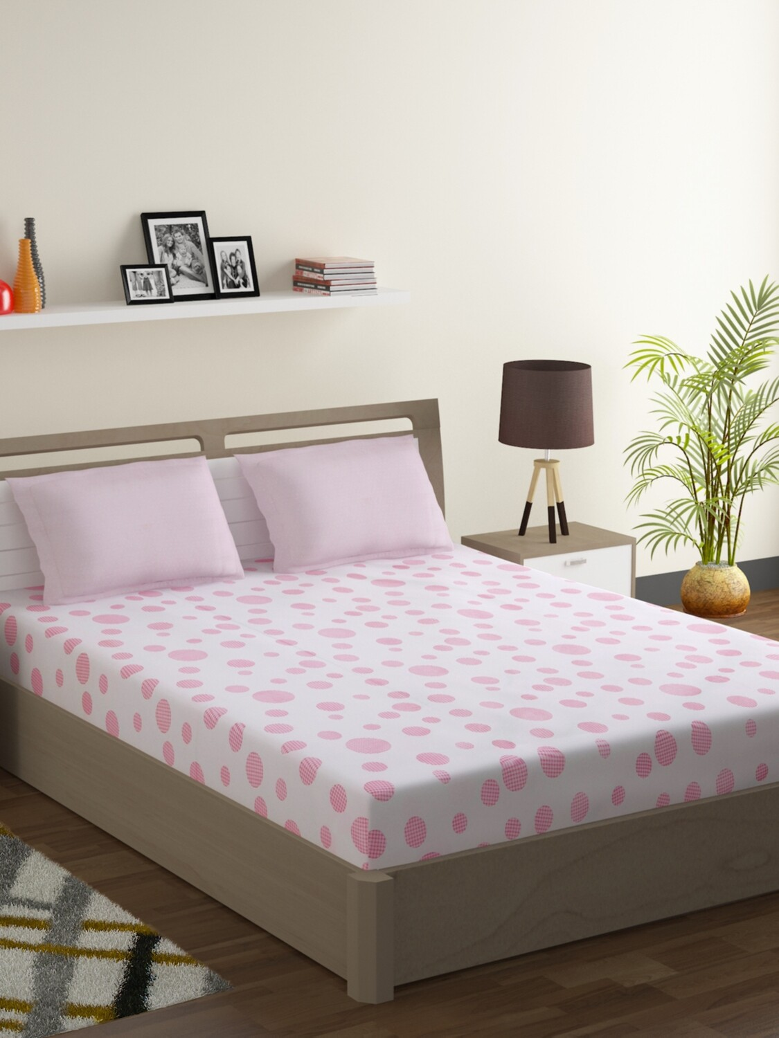 Swayam Pastel Vogue 210 TC Pure Cotton Pink Blush Double Bedsheet with 2 Pillow Covers