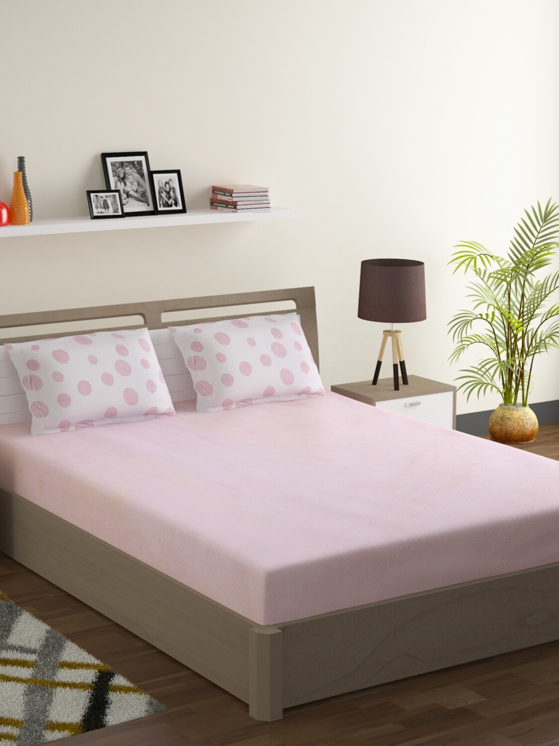 Swayam Pastel Vogue 210 TC Pure Cotton Pink Lemonade Double Bedsheet with 2 Pillow Covers