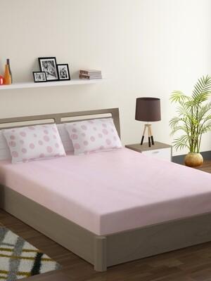 Swayam Pastel Vogue 210 TC Pure Cotton Pink Lemonade Double Bedsheet with 2 Pillow Covers