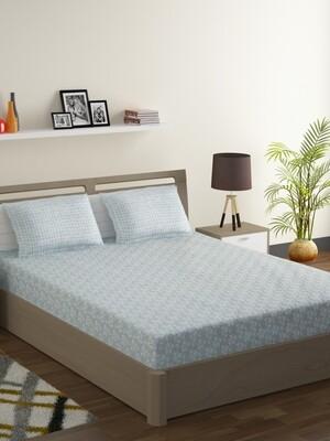 Swayam Pastel Vogue 210 TC Pure Cotton Mint Charm Double Bedsheet with 2 Pillow Covers