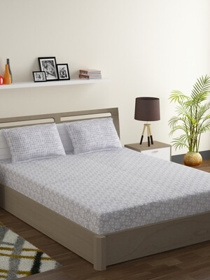 Swayam Pastel Vogue 210 TC Pure Cotton Gray Blossom Double Bedsheet with 2 Pillow Covers