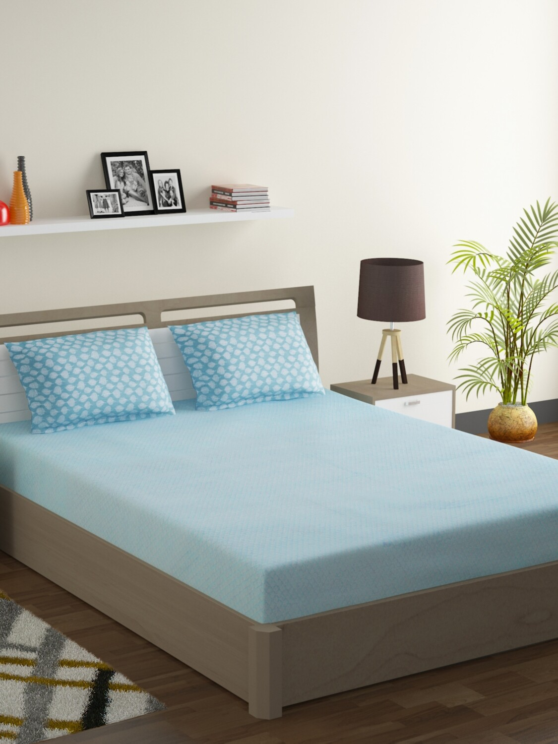 Swayam Pastel Vogue 210 TC Pure Cotton Sea Crystal Double Bedsheet with 2 Pillow Covers