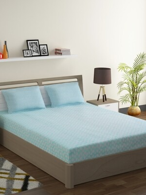 Swayam Pastel Vogue 210 TC Pure Cotton Misty Teal Double Bedsheet with 2 Pillow Covers