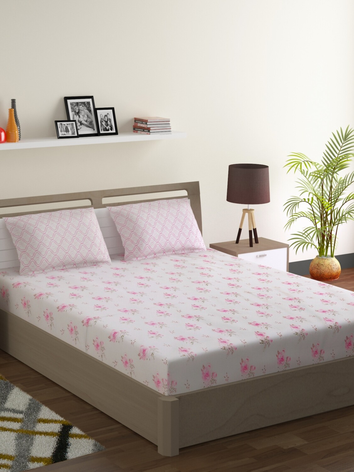 Swayam Pastel Vogue 210 TC Pure Cotton Sweetheart Rose Double Bedsheet with 2 Pillow Covers