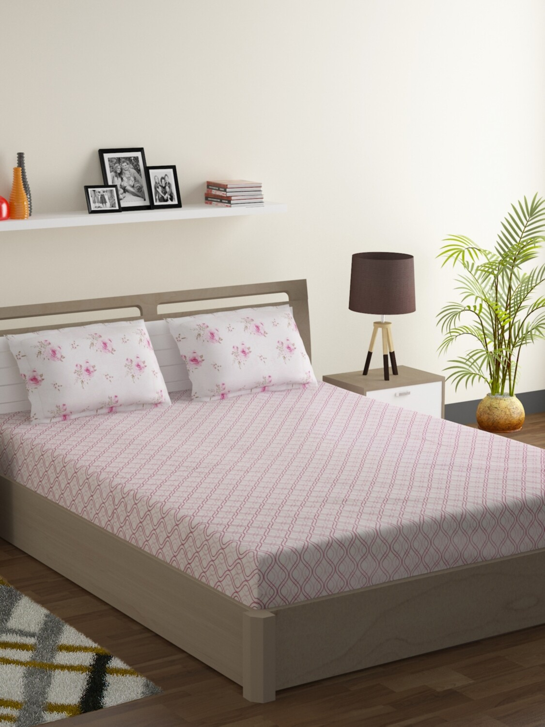 Swayam Pastel Vogue 210 TC Pure Cotton Pink Calamine Double Bedsheet with 2 Pillow Covers
