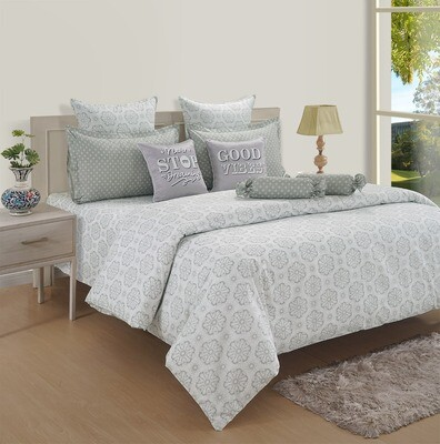 Swayam Pastel Vogue 210 TC Pure Cotton Shining Pearl Double Bedsheet with 2 Pillow Covers