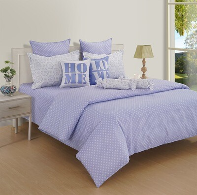 Swayam Pastel Vogue 210 TC Pure Cotton Lilac Tint Double Bedsheet with 2 Pillow Covers