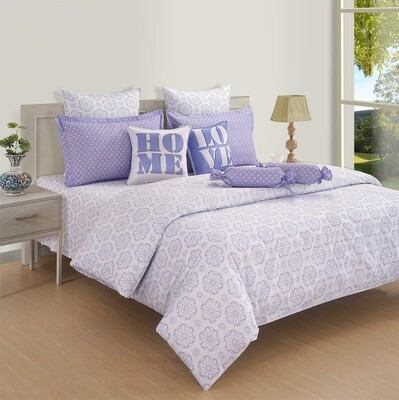 Swayam Pastel Vogue 210 TC Pure Cotton Lavender Double Bedsheet with 2 Pillow Covers