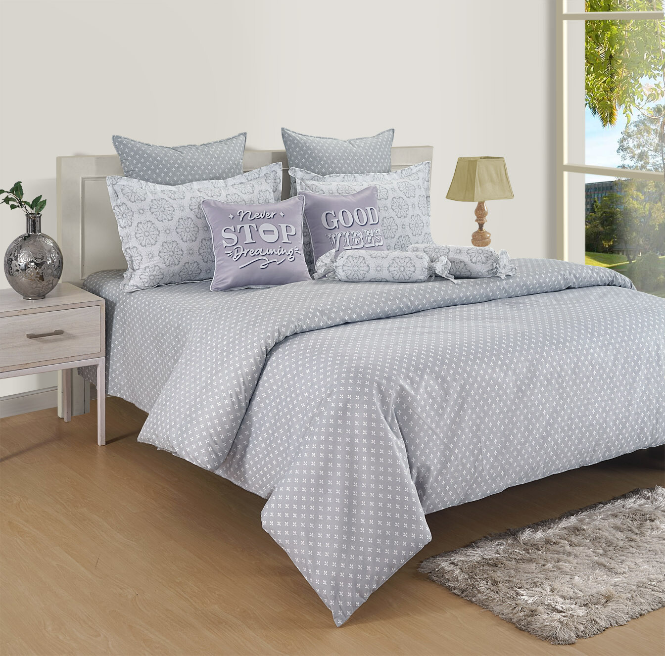 Swayam Pastel Vogue 210 TC Pure Cotton Metal Gray Double Bedsheet with 2 Pillow Covers
