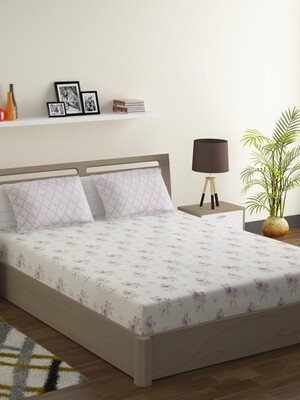Swayam Pastel Vogue 210 TC Pure Cotton Vintage Puple Double Bedsheet with 2 Pillow Covers