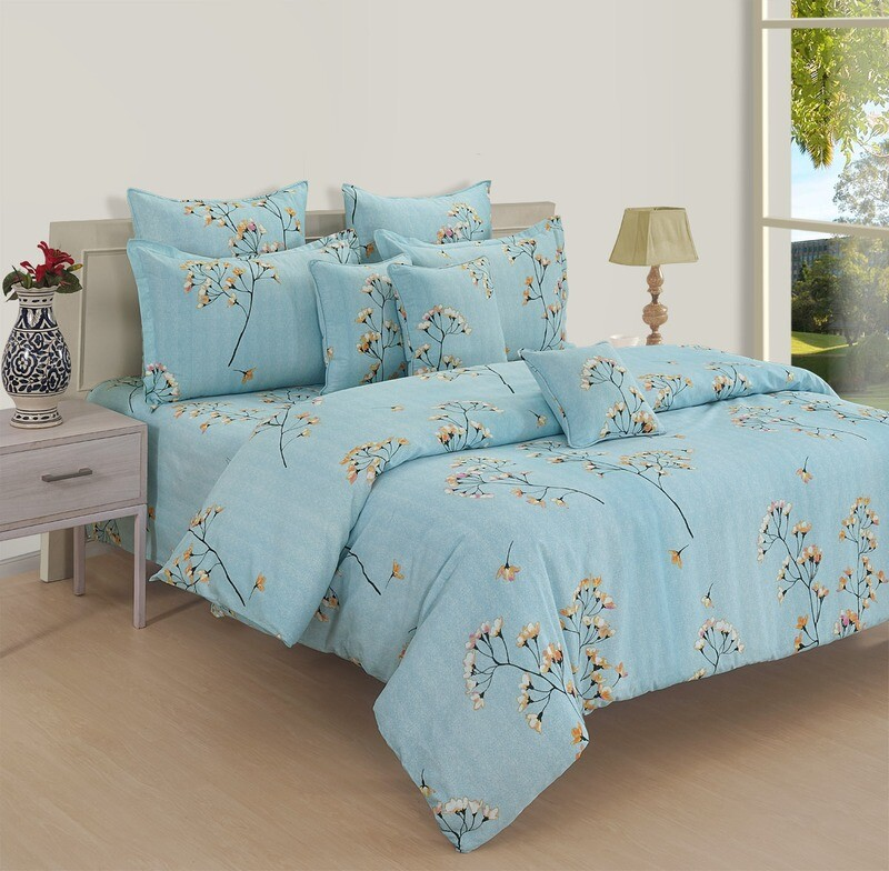 Swayam Apricot Lilies 180 TC Cotton Double Bedsheet with 2 Pillow Covers
