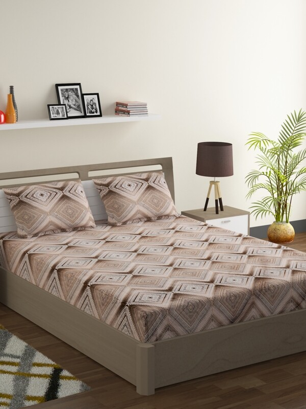 Swayam Choco Aztec Love 180 TC Cotton Double Bedsheet with 2 Pillow Covers