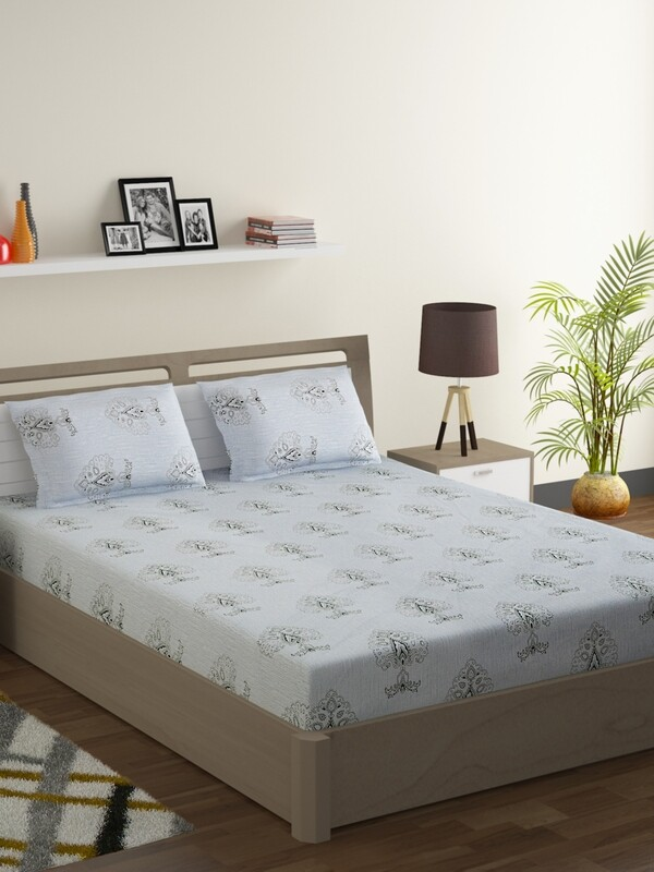 Swayam Monochrome Ornamental Leaf 180 TC Cotton Double Bedsheet with 2 Pillow Covers