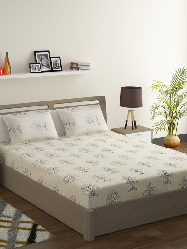 Swayam Creamy Ornamental Leaf 180 TC Cotton Double Bedsheet with 2 Pillow Covers